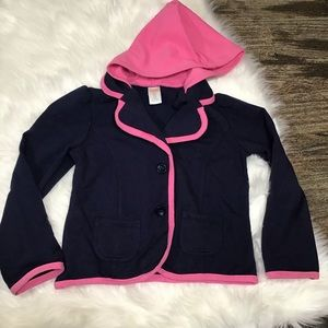 Gymboree Navy and pink hooded blazer.